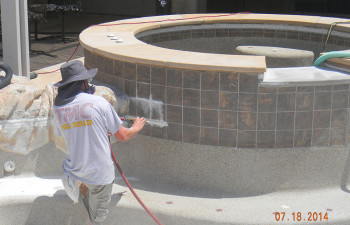 TMC Custom Pool glass bead cleaning